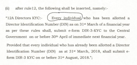 Do we need to file DIR-3 KYC for Directors whose KYC was
